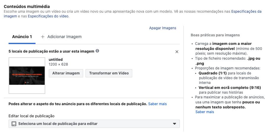 Conteúdos multimedia para anúncios no Facebook