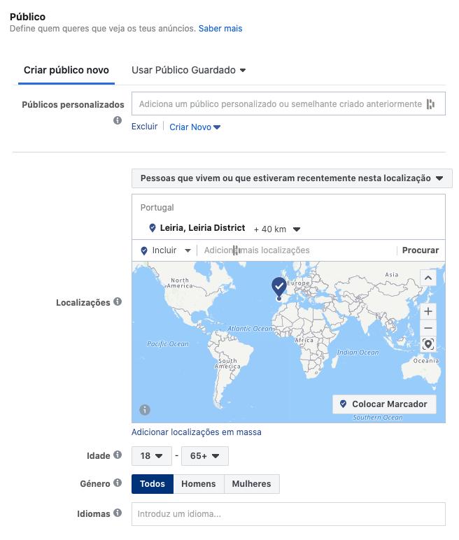 Segmentação geográfica de público alvo no Facebook